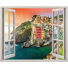 Tranh dán tường cửa sổ 3D cảnh biển đẹp VTC VT0253