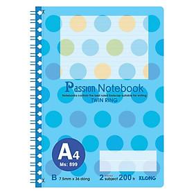 Sổ lò xo kép bìa nhựa A4 - 200 trang; Klong TP899 màu xanh dương