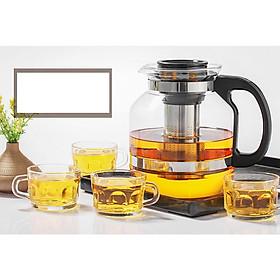 Bộ Bình và ly pha trà có lõi lọc inox