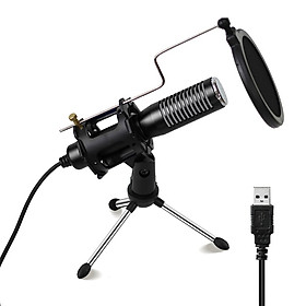 Mini USB Wired Condenser Microphone Mic with Mini Tripod Stand Shock Mount Pop Filter for PC Laptop Games Playing Music