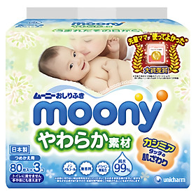 Khăn Giấy Ướt Moony Cho Trẻ Em (80 Miếng/3 Bịch)