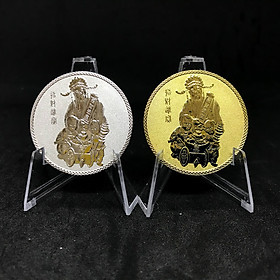 Cặp Đồng Xu Thần Tài Mạ Vàng Bạc - Tặng kèm hộp đựng xu bằng nhung - Tăng Tài Lộc cho gia chủ với mặt trước là hình Ông Thần Tài - Mặt sau là Chữ tài được khắc tinh xảo - với đường kính 40mm và độ dày 3mm - Quà tặng dịp tết Canh Tý - TMT Collection
