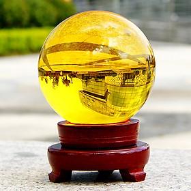 Quả Cầu Phong Thủy Thủy Tinh Vàng - Xoay Chuyển Thời Vận - Thăng Quan Tiến Chức - Hợp Mệnh Thổ, Kim