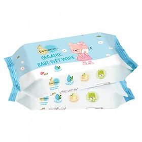 Combo 2 bịch khăn ướt Organic cho bé Lamoon - Loại 80 miếng