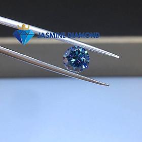 (Size từ 4-7.5 ly) Kim cương nhân tạo Mỹ Moissanite giác cắt tròn màu xanh dương
