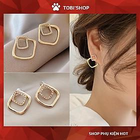 Khuyên tai nữ hoa tai hình học bông tai vuông đính đá TB223 - TOBI'SHOP