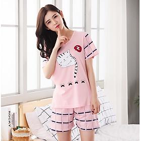 Bộ đồ nữ mùa hè mặc nhà ngắn tay cotton họa tiết dễ thương - AG89