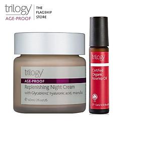 Combo Kem dưỡng ẩm ban đêm Trilogy Age-Proof Replenishing Night Cream 60ml + Tinh dầu tầm xuân Trilogy 10ml