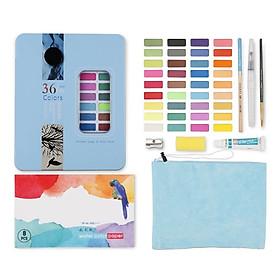 Màu nước dạng nén cao cấp W3600 set 36 màu đi kèm túi nhung và bộ dụng cụ dành cho vẽ tranh màu nước, giao màu hộp ngẫu nhiên