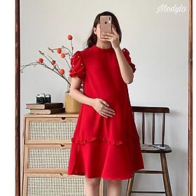 Váy bầu đỏ phối tay đính ngọc bèo chân