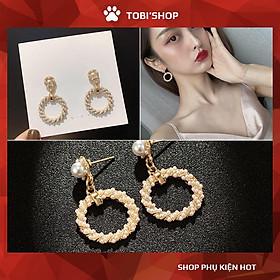 Khuyên tai nữ bông tai nữ tròn xoắn dễ thương đính ngọc trắng TB201 - TOBI'SHOP
