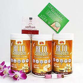 Combo 3 hộp Keto Collagen 500g [Chính Hãng] - Bữa ăn Keto hỗ trợ GIẢM CÂN SIÊU TIỆN LỢI cho người thực hành Keto và người muốn giảm cân - Giảm 3-7Kg/ 1 tháng [Tặng 1 Hộp Chất xơ hòa tan Hera Happy chống táo bón, 1 hộp Mặt nạ Saffron sữa ong chúa và 1 Thước dây]