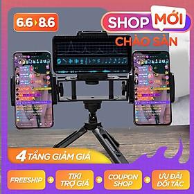 Giá đỡ livestream Kẹp 3 điện thoại - Giá đỡ điện thoại để quay video Thế hệ mới - Tripod Live 3 in1 – Hàng Xịn – Shop Uy Tín