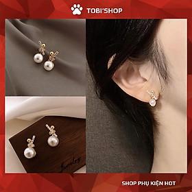 Bông tai nữ ngọc trai nhân tạo trắng họa tiết xinh xắn TB257 - TOBI'SHOP
