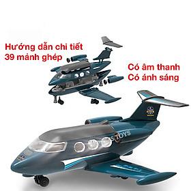 Đồ chơi lắp ghép máy bay  KAVY có 39 chi tiết có âm thanh và đèn sáng, nhựa nguyên sinh an toàn, có hướng dẫn lắp đặt