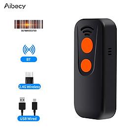 Máy quét barcode cầm tay thông minh Aibecy 3 trong 1 hỗ trợ kết nối Bluetooth 2.4G và kết nối dây
