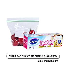 Túi zip bảo quản thực phẩm MyJae, hai đường kéo, kích cỡ L: 22,5cm x 21,5cm, 24 túi/hộp