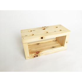 Hộp gỗ cắm cọ vẽ / bút viết / trang trí (19.5 x 8.5 x 9.5cm), 6 lỗ, màu gỗ tự nhiên CTC