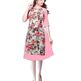 Áo dài nữ kèm chân váy hoa lá SP1