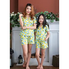 Bộ đồ mặc nhà Pijama mẹ và bé màu xanh họa tiết quả chanh