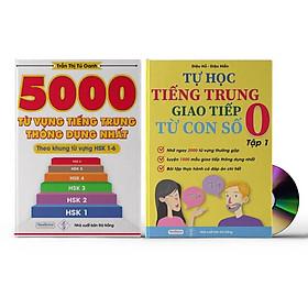Sách- Combo 2 sách 5000 từ vựng tiếng Trung thông dụng nhất theo khung HSK từ HSK1 đến HSK6+ Tự Học Tiếng Trung Giao Tiếp Từ Con Số 0 Tập 1(Có audio nghe)+DVD tài liệu