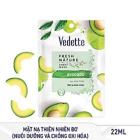 Combo 6 Mặt Nạ Thiên Nhiên Sáng Khỏe Tự Nhiên Bơ Vedette Fresh Nature Sheet Mask Set Avocado 25g x 6