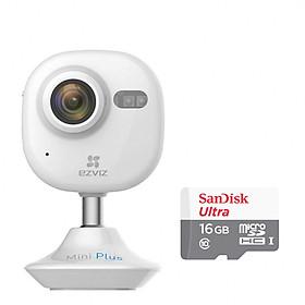 Hình đại diện sản phẩm Combo Camera IP Wifi Không Dây Ezviz Mini Plus 1080P (CS-CV200-A0-52WFR) Và Thẻ Nhớ 16GB - Tặng tai nghe Bluetooth