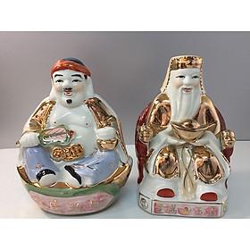 Cặp tượng Thần Tài - Thổ địa- kích thước 18x12,5x9 ( áo kim sứ Bát Tràng cao cấp) - 1