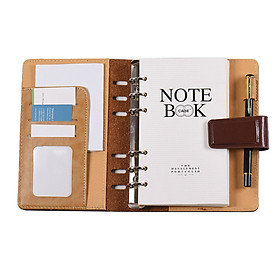 A6 PU Loose-leaf Spiral Notebook Binder Business Planner Dairy Agenda Vintage Office Stationery w/ Card Photo Slot Pen