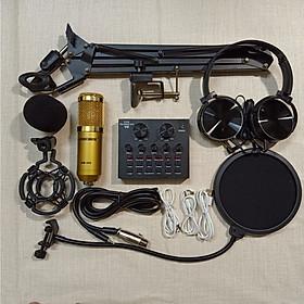 Trọn bộ sản phẩm Live stream sound card V8 BLUETOOTH Micro Woaichang BM 900 đầy đủ phụ kiện kẹp bàn màng lọc âm tặng tai phone HÀNG CHÍNH HÃNG