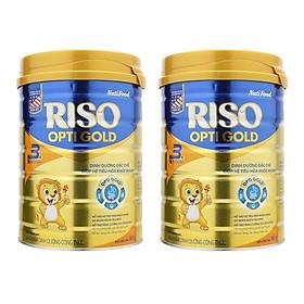 Bộ 2 Lon Sữa Bột NutiFood RISO OPTI GOLD 3 Lon 900g Cho Trẻ Từ 1-2 Tuổi