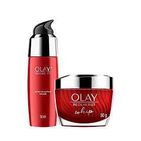 Bộ 2 sản phẩm chống lão hóa hoàn hảo Olay Regenerist Advance Anti Aging: 1 Kem dưỡng ẩm Whips 50g + 1 Serum