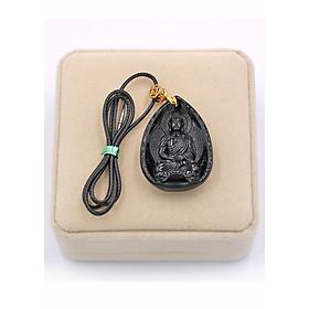 Vòng cổ Dược Sư Lưu Ly Quang Vương Phật thạch anh đen 4 cm DSEDS9 hộp nhung