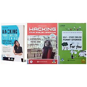 Combo 2 cuốn Hacking:Đột phá nghe hiểu tiêng anh và luyện nói tiếng anh đột phá( tăng tự hoc giao tiếp tieng anh qua truyện cười kèm bookmark)
