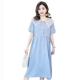 Đầm, Váy Bầu Công Sở Azuno AZ105 Có Cổ, Ngẵn Tay, Dáng Suông, Dài Qua Gối Có Thể Mặc Đi Tiệc, Chất Vải Thô Đũi Mềm Mát, Mặc Mùa Hè