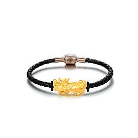 Vòng dây da phối charm Tỳ hưu vàng 24k nguyên chất size đại - Ancarat