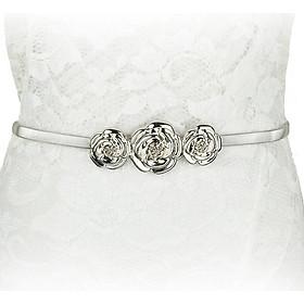Thắt lưng nữ mặc đầm mặc 3 hoa hồng dây kim loại