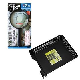 Combo Kính lúp + Khay đựng tài liệu A4 nội địa Nhật Bản