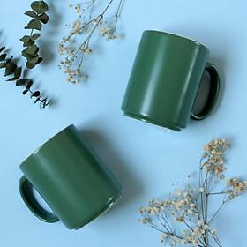 Ly / cốc gốm xanh lục lòng trắng có quai - Green ceramic mug