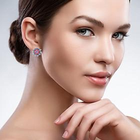 Fashion Colorful Rhinestone Inlaid Sunflower Stud Earrings Women Jewelry Gift
