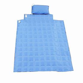Chăn gối đệm vải cho bé mẫu giáo màu xanh dương