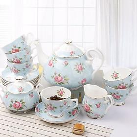 Bộ ấm trà to sứ xương cao cấp hoa hồng xanh 6 người 15 món ROYAL ROSE 5536