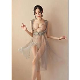 Váy Ngủ Ren Xẻ Hông - Xám