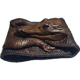 VÍ da cá sấu nguyên con đan viền Ruby Luxury