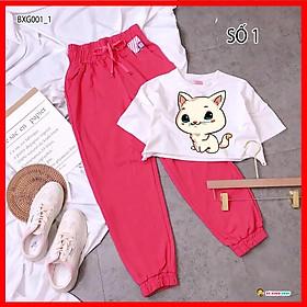 Set áo croptop quần jogger thể thao dễ thương cho bé gái BX001-1