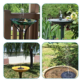 Solar Fountain Water Pump for Bird Bath with 6 Different Spray Pattern Heads for Pond, Pool, Garden, Fish Tank, up to 65cm jet height