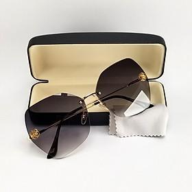 Mắt kính mát nữ ốc không viền DKY2026 màu nâu, đen khói và mận đỏ. Tròng kính Poalrized phân cực chống nắng, chống tia UV. Gọng kính kim loại, ôm mặt
