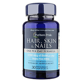Thực phẩm bảo vệ sức khỏe Chăm sóc da, tóc, móng hàng ngày 30 viên (Hair, Skin & Nails One Per Day Formula)