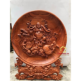 Đĩa gỗ trang trí phật di lặc bằng gỗ hương đường kính đĩa 30 - 35 - 40 cm dày 4 cm