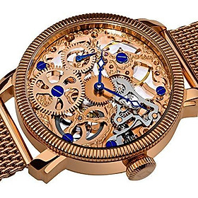 Akribos XXIV Automatic Skeleton Mechanical Men's Watch - See Through Dial with IP Case with A Skeletonized Dial on Luxury Mesh Bracelet - AK526